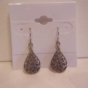 Sterling Silver Filigree Teardrop Pierced Earrings